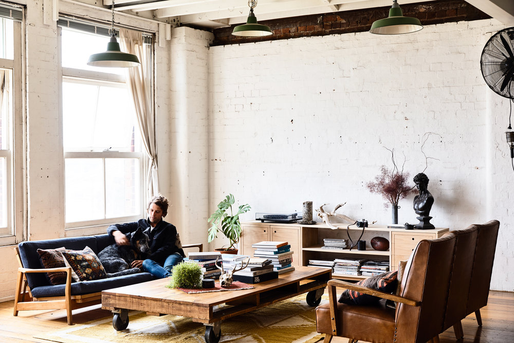Nick's home - an old factory in West Melbourne, encouraged him to make his own furniture.