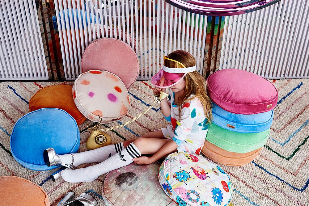 Kip&Co AW17 velvet cushions in a rainbow of colours.
