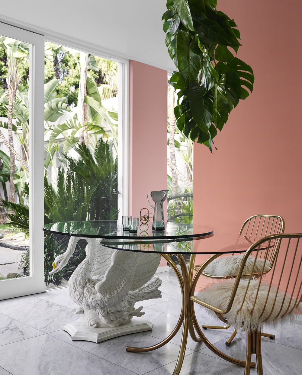Dulux Colour Trends 2018  -Escapade Palette.Right wall in Dulux Cuticle Pink and Main wall in Dulux Tangerine Flake.