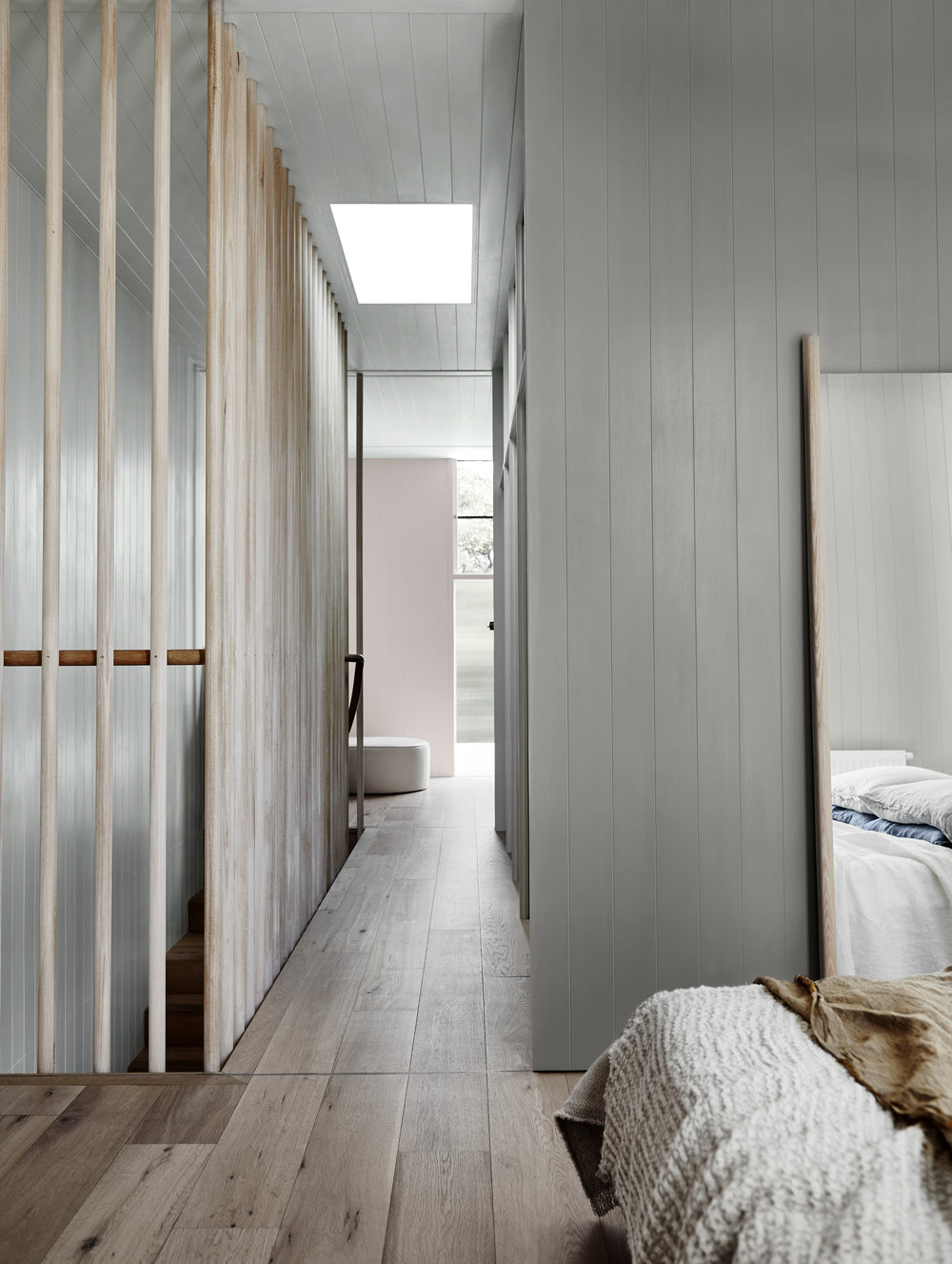Dulux Colour Trends 2018  –  Essential Palette .Right wall in Dulux Flooded Gum, left wall in Dulux Terrace White and rear wall in Mornington Half