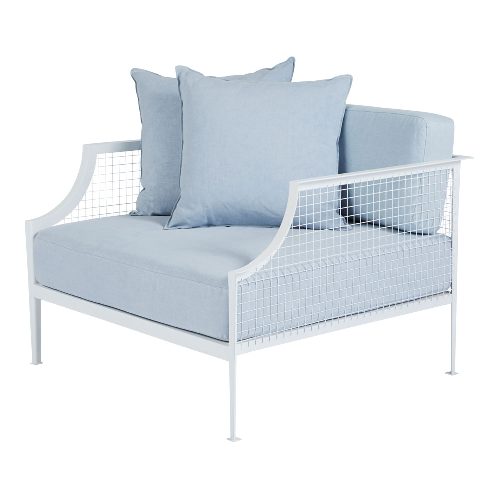 4 |   Rex  Industrial White Armchair in Blue Linen from  Urban Couture .