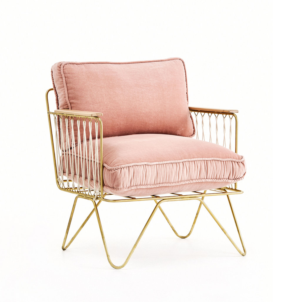 3 |   Croisette  Armchair in Pink Velvet from  Bastille and Sons .