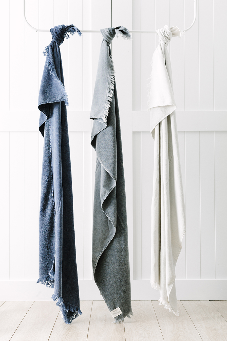 The Indigo, Clay and Ash both towels inspired by driftwood, white clay and deep indigo hues.