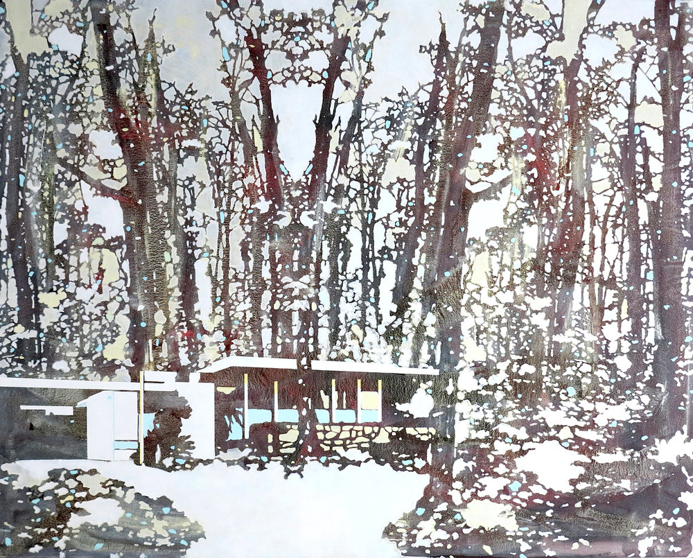 Red and White Forest   2014, acrylic on canvas by Paul Davies.