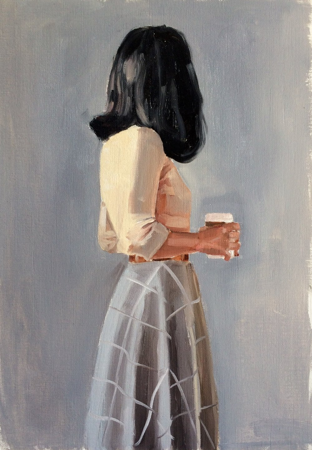 Girl with Coffee Study , Oil on Linen by  Holly Harper .