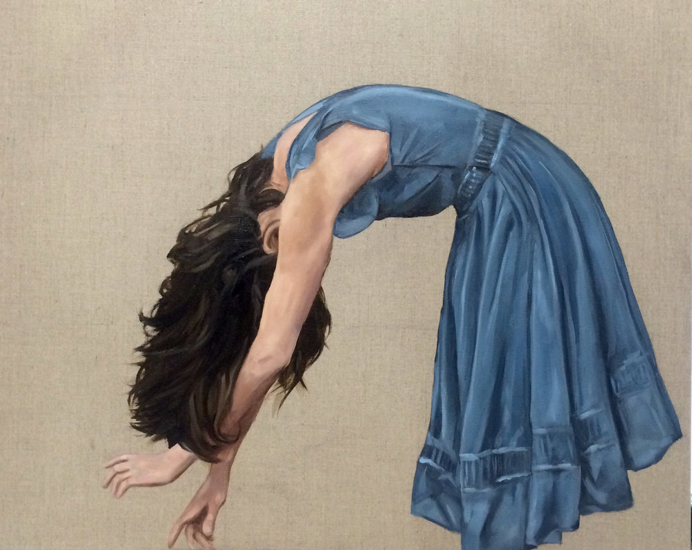 Lady in Blue , Oil on Linen by  Holly Harper .