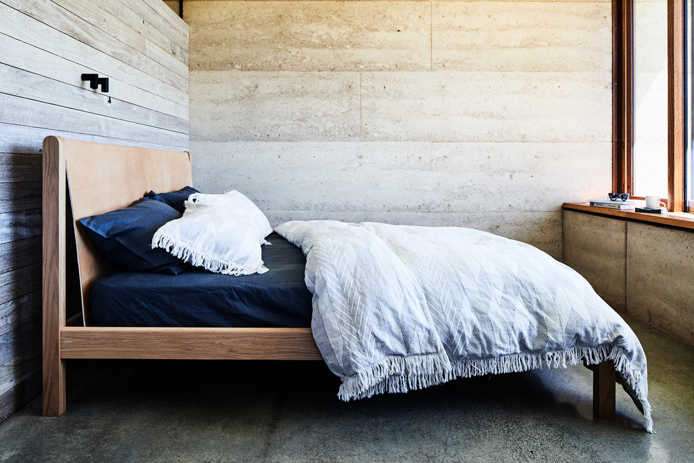 2 |   Finley  Solid Oak and Leather Bedhead bed from  Jardan .