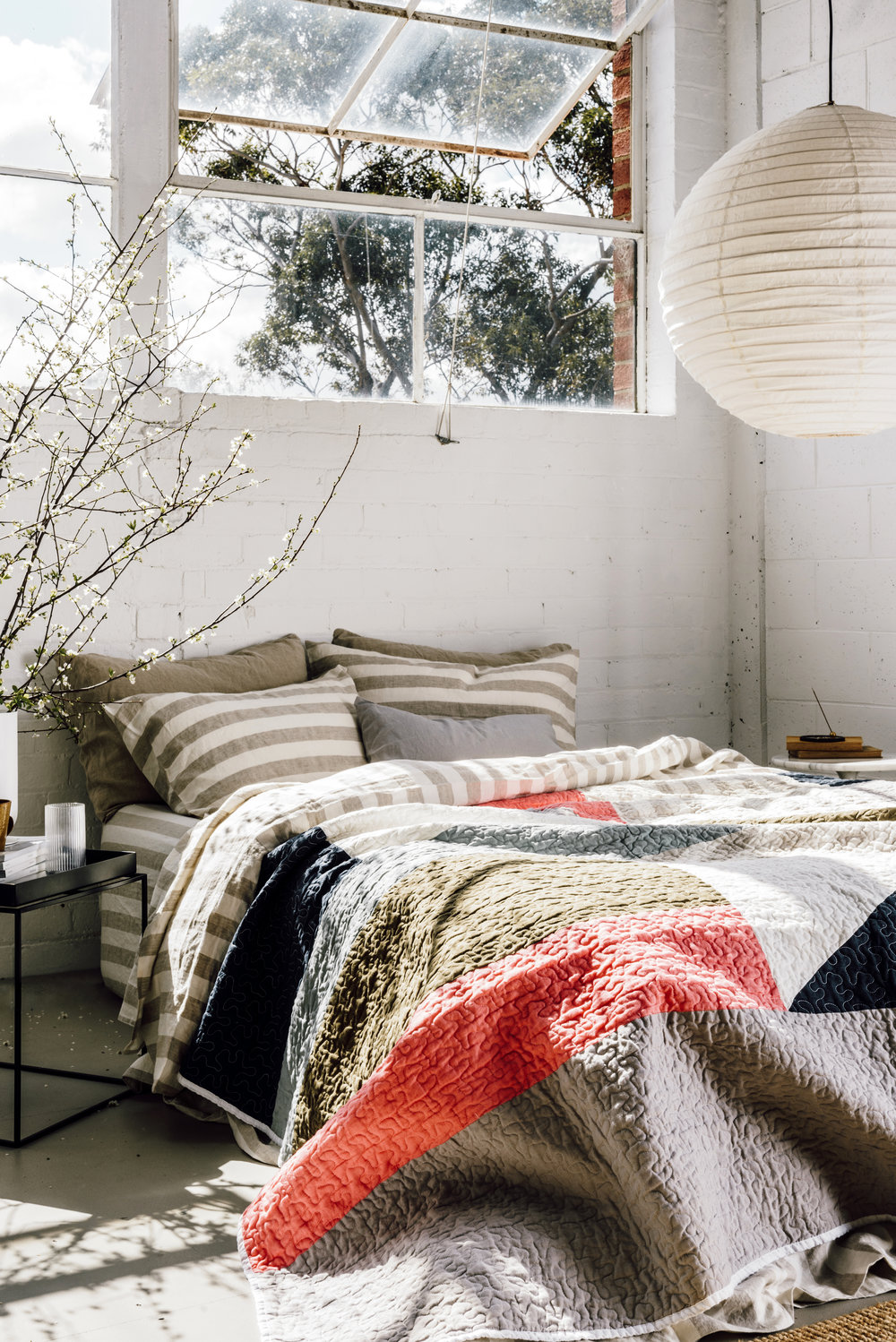 The  Maryanne Moodie x I Love Linen  collaboration - local weaver Maryanne Moodie has teamed up with  I Love Linen  to create a limited edition art quilt in French linen. Photo by Lauren Bamford, styling by Stephanie Stematis.