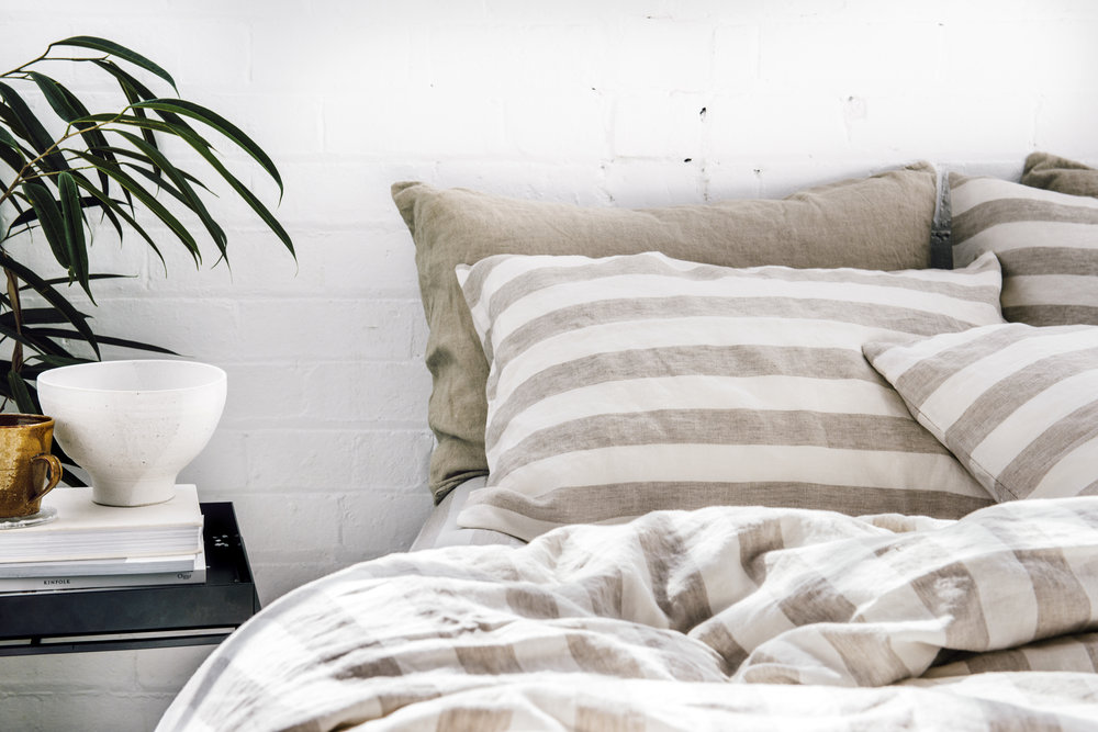 The  Thick Stripes  linen range in pure linen and 100% organic bamboo from  I Love Linen .