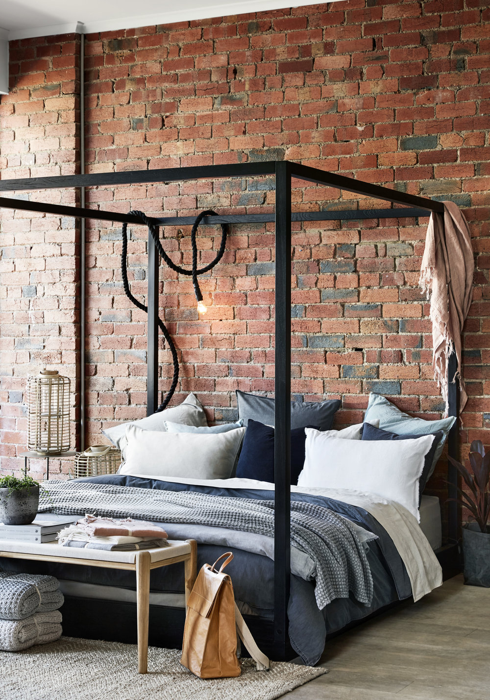 The new  AURA HOME  Malvern store, complete with four poster bed in AURA bedding. Photo - Tess Kelly.