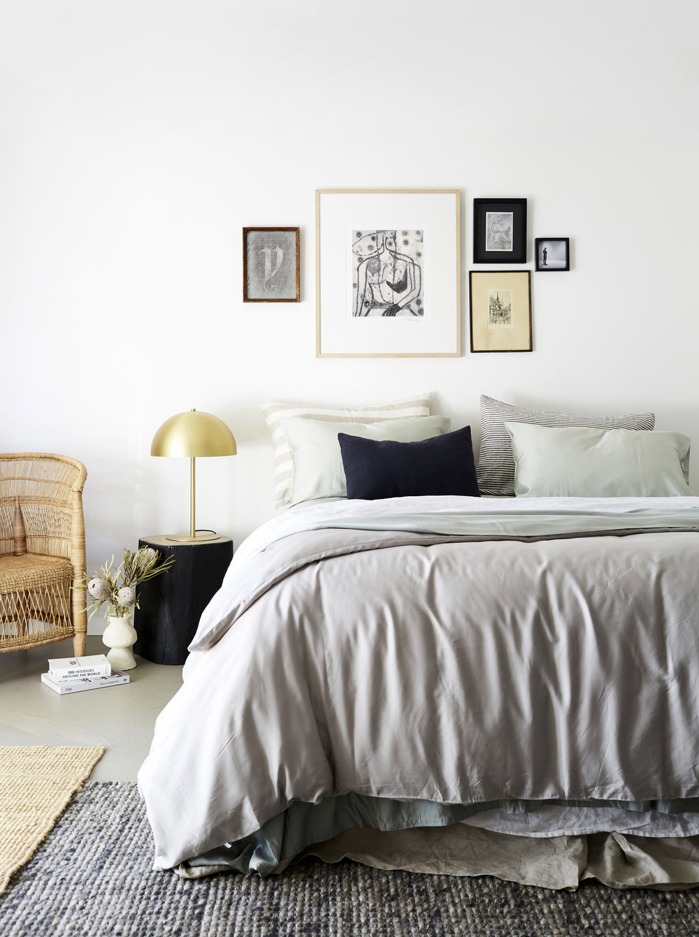 I Love Linen  Pure Organic Bamboo quilt cover and pillow cases in Pistachio. Charcoal Noir Le Petit cushion. French Linen sheet set in White. French Linen Charcoal Inky Stripes & Natural and Milk stripes pillow cases. Styling - Kristin Rawson. Photo - Jessie Prince.