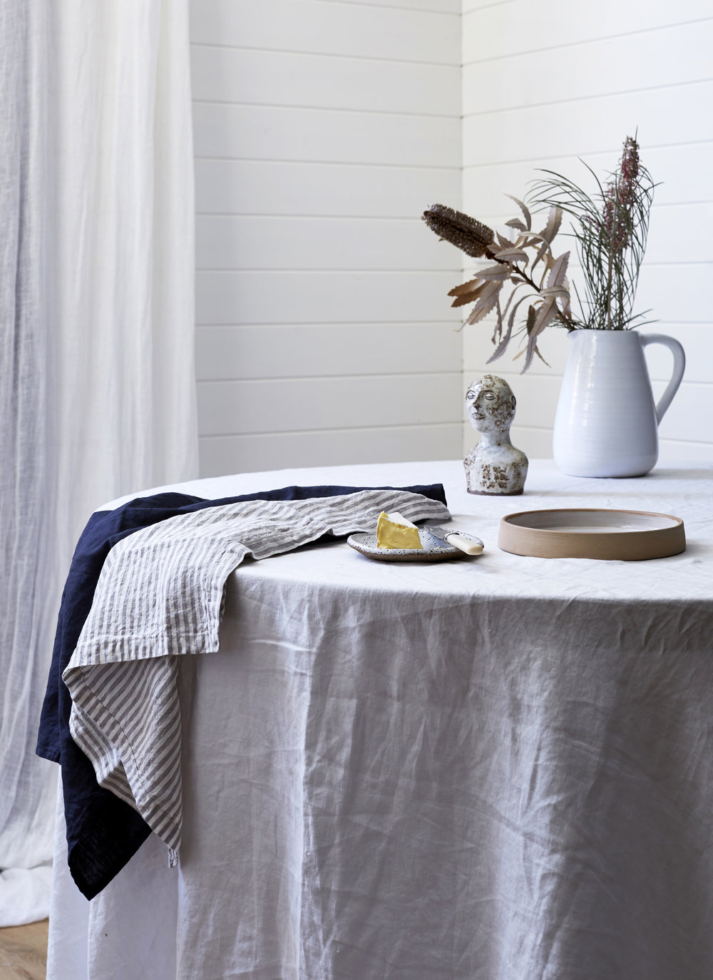 I Love Linen  French Linen table cloth in Milk. French Linen napkins in Stripes and Inky Charcoal. Styling - Kristin Rawson. Photo - Jessie Prince.