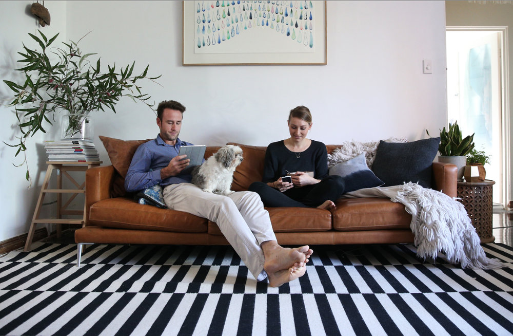 The Stylephiles'   Kaz Bell and her partner in their Sydney home.