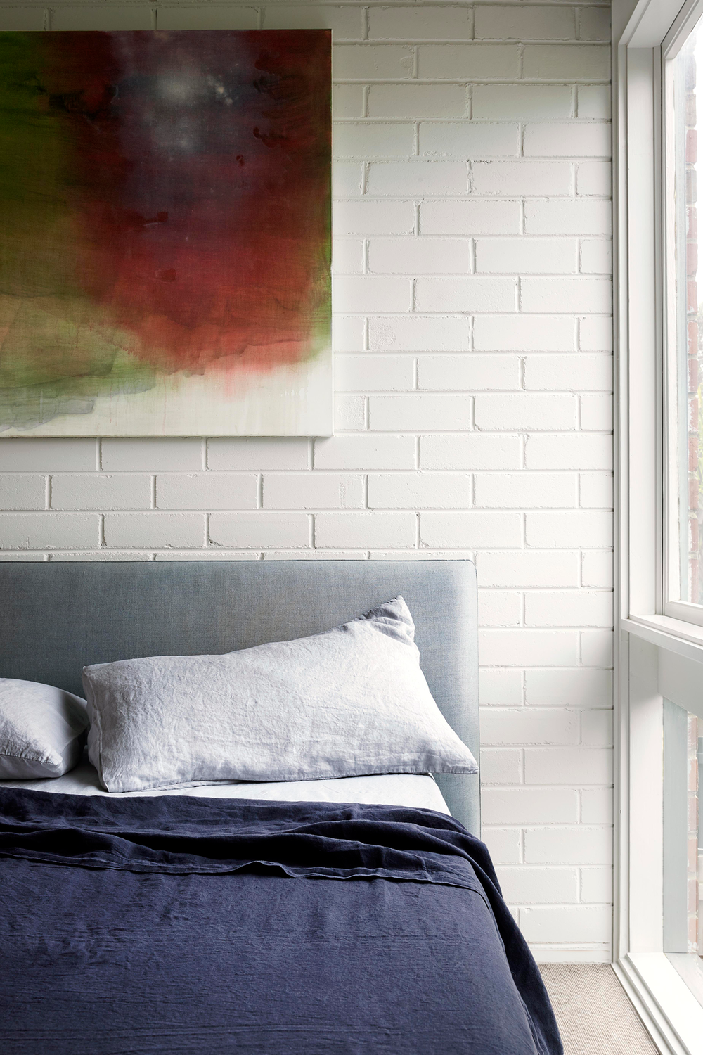 Bed by  Jardan  and dreamy painting from  Marisa Purcell .  Photo - Caitlin Mills. Styling - Tamara Maynes.