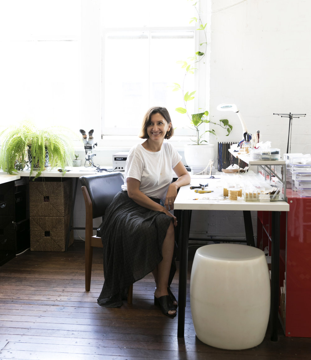 Tanja Kovacevic at work in the   Petite Grand   studio in Surry Hills. Photo - Simone Gillet. Styling - Hande Renshaw.