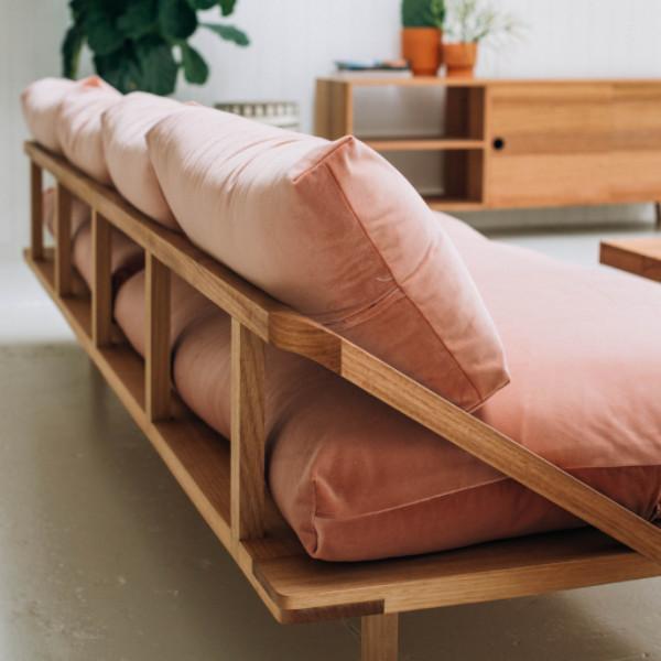 The  Plush Dreamer Couch  in Rose Pink Velvet from  Pop & Scott .