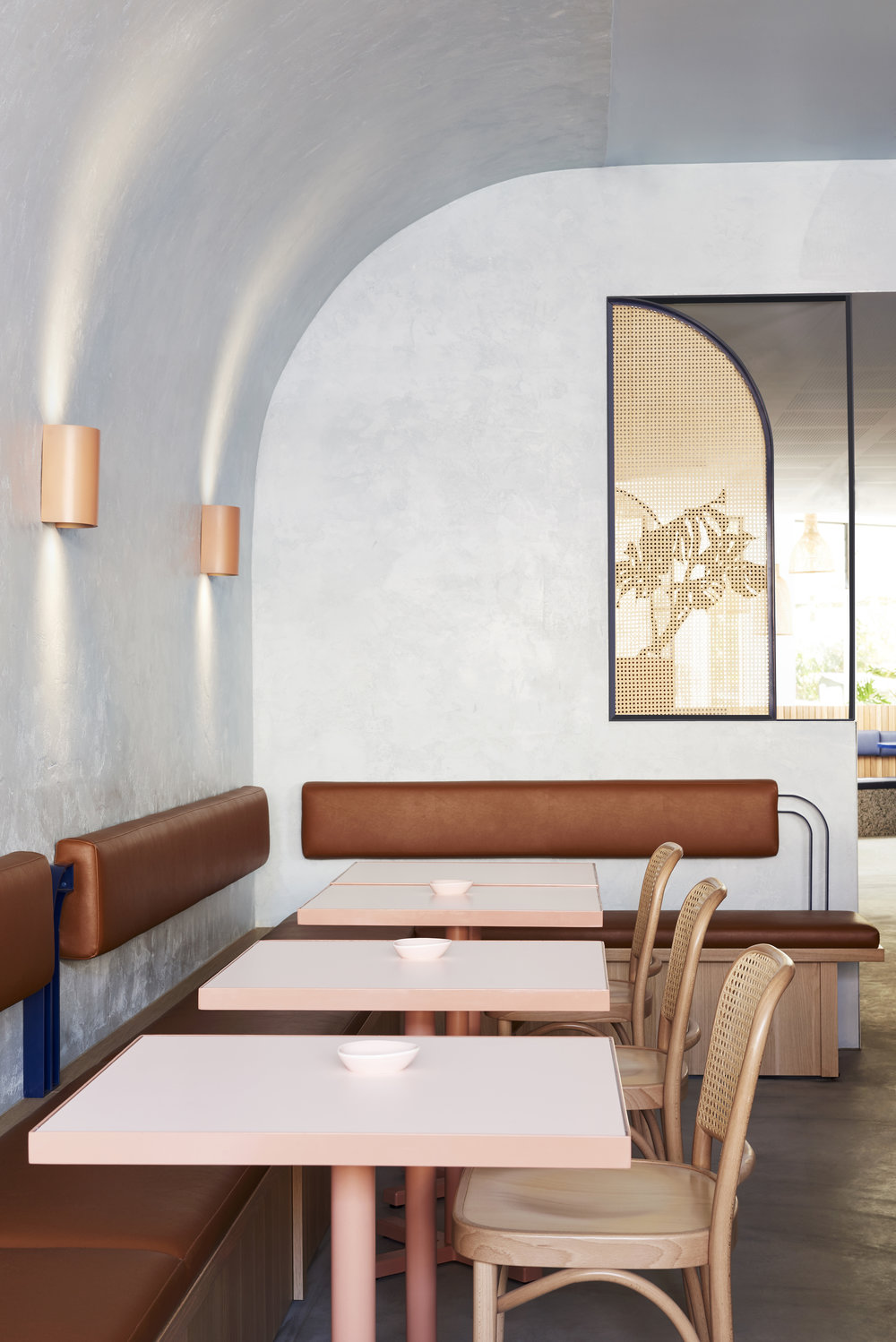 The perfect palette - peach, blue and terracotta hues feature in the restaurant.