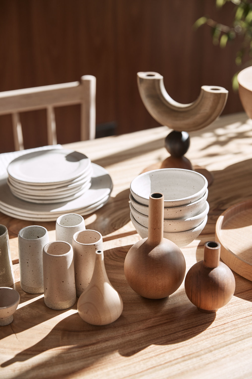 Ceramics by  Wingnut & Co.  and wooden objects by  Tara Burke . Photo – Terence Chin.