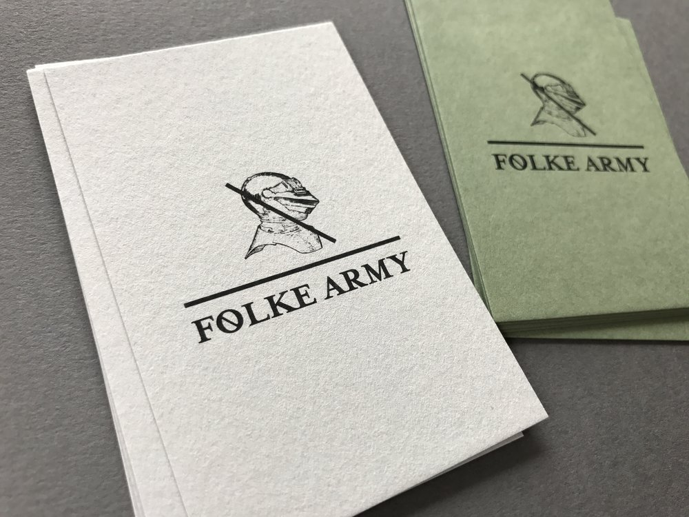 Folke Army business cards printed by  Morgan Printing .