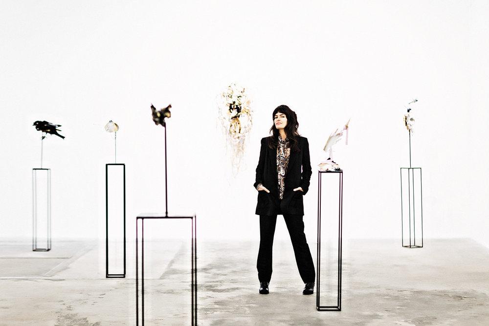 Anna-Wili Highfield at her  Spirit Faces  exhibition at Olsen Gruin  gallery in New York. Photo -  Julie Healy