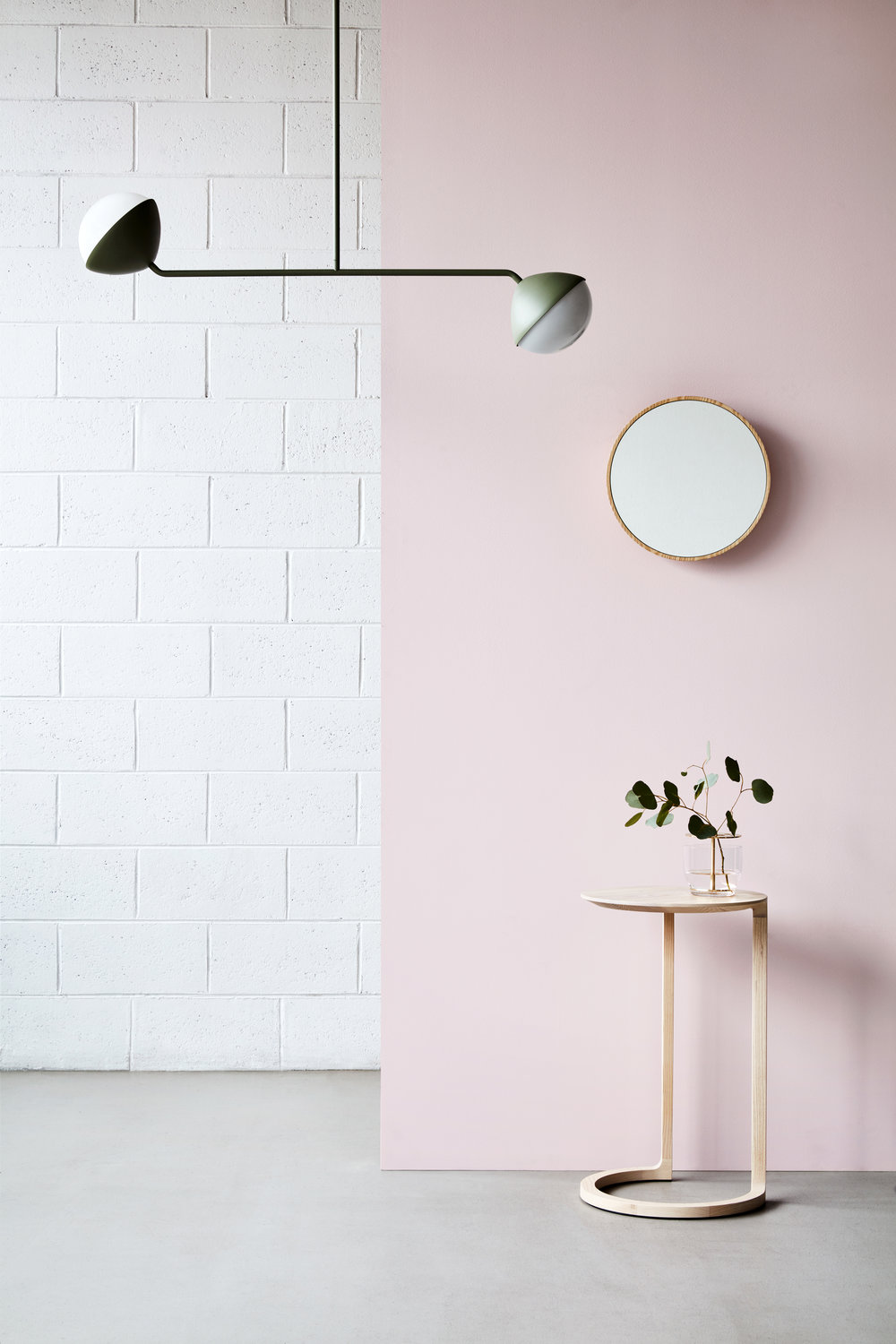 Jolly by Kate Stokes for  NAU  is a new lighting collection consisting of a compact wall light, single rod pendant and double rod pendant as shown here. The double rod pendant can be layered to create larger installations. Styling by Heather Nette King. Photography by Mike Baker.