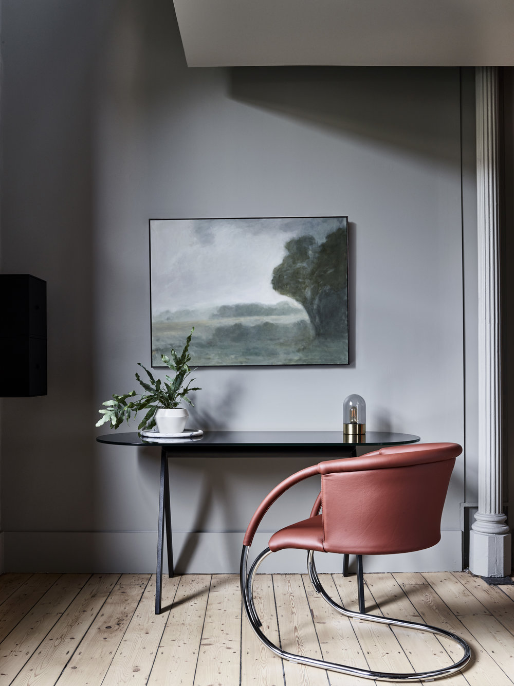 ML33 armchair designed in 1933 by Mogens Lassen. Manufactured by By Lassen, Copenhagen. Saw Desk with glass top by Friends & Founders, Denmark. Art by Greg Wood via James Makin Gallery. Photo – Mark Roper. Styling – Simone Haag.