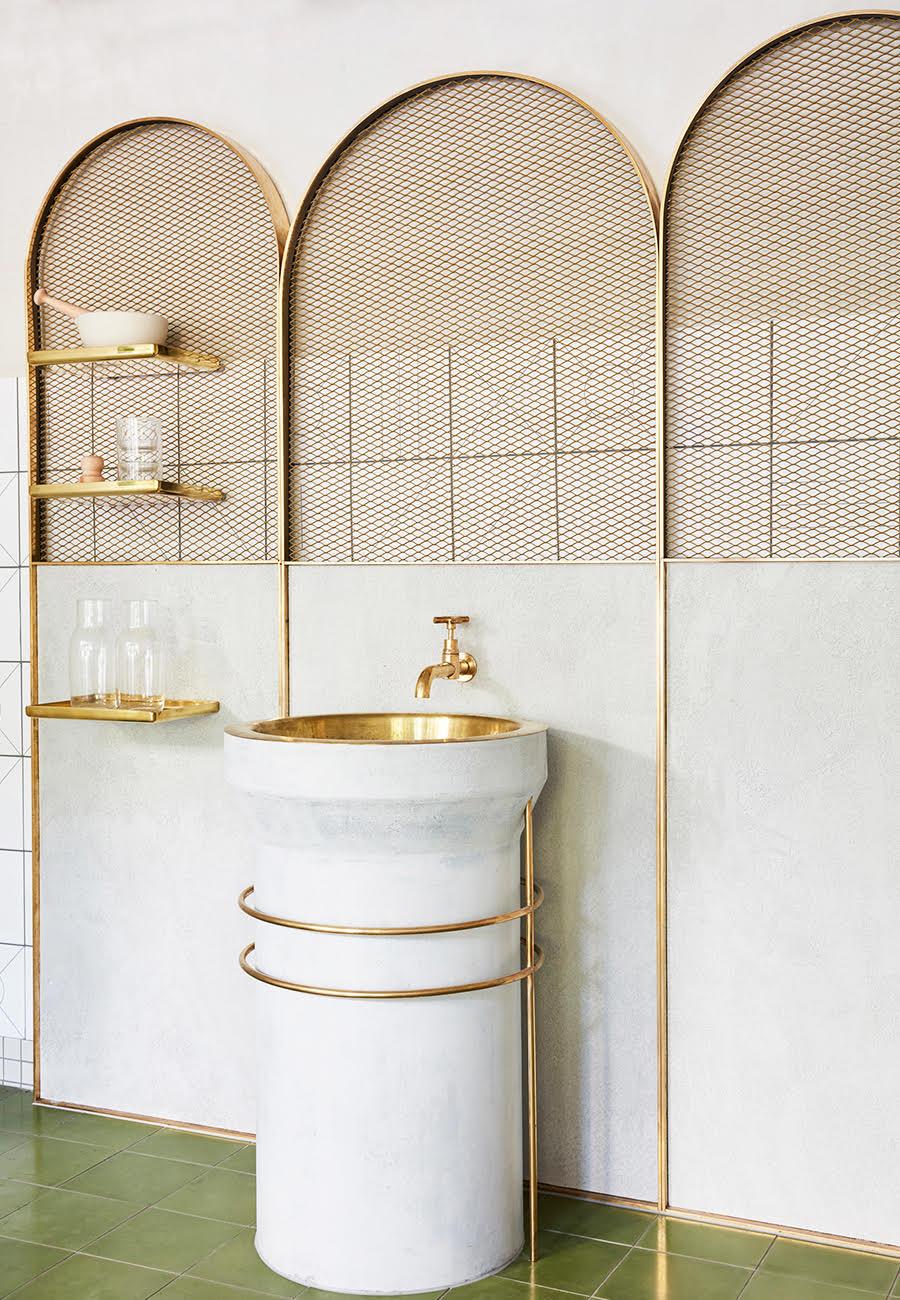 The Naim bathroom interior design by  The Stella Collective . Photo - Sean Fennessy.