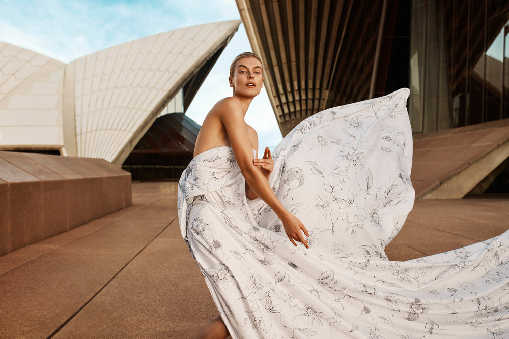 The Sketch Quilt Cover was inspired by the botanical surrounds of the Sydney Opera House -   Sheridan  has used classic illustrative techniques in the modern monochrome layout. Photo - Georges Antoni.
