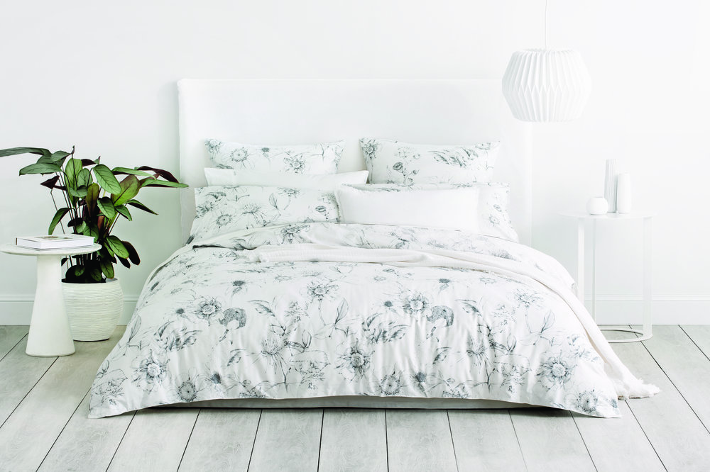The Sketch Quilt Cover was inspired by the botanical surrounds of the Sydney Opera House -  Sheridan  has used classic illustrative techniques in the modern monochrome layout.
