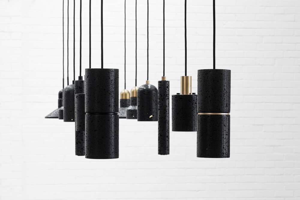 The  QIE Lava Pendants  from BUZAO hanging in the Remodern showroom.