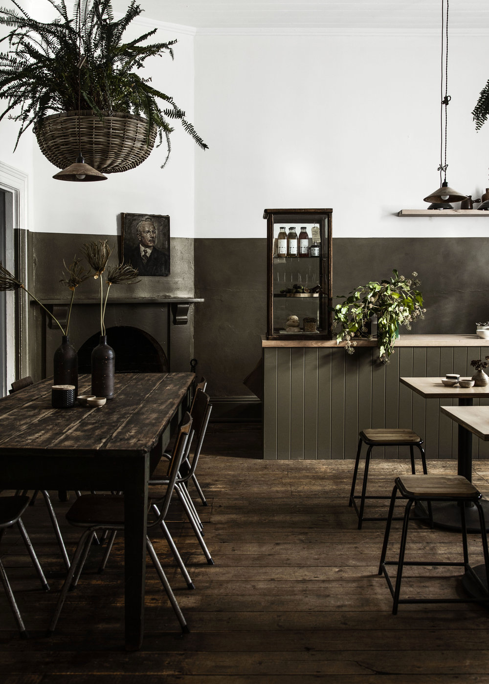 The beautiful and moody interior of Lynda Gardener and Mark Smith's new cafe and provision store, Trentham General. Photo -  Danny Wootton .