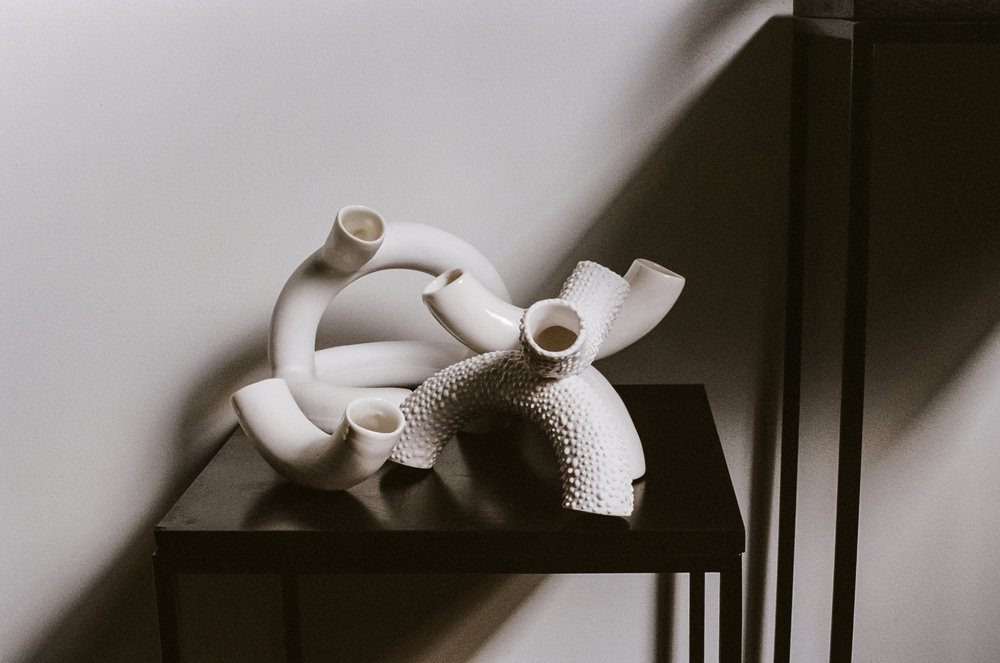 Sydney-based ceramic designer Milly Dent's latest body of work. Photo –  Kelly Geddes .
