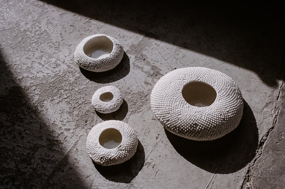 In her current exhibition, Milly Dent takes porcelain to brand new heights, exploring its capabilities. Photo –  Kelly Geddes .