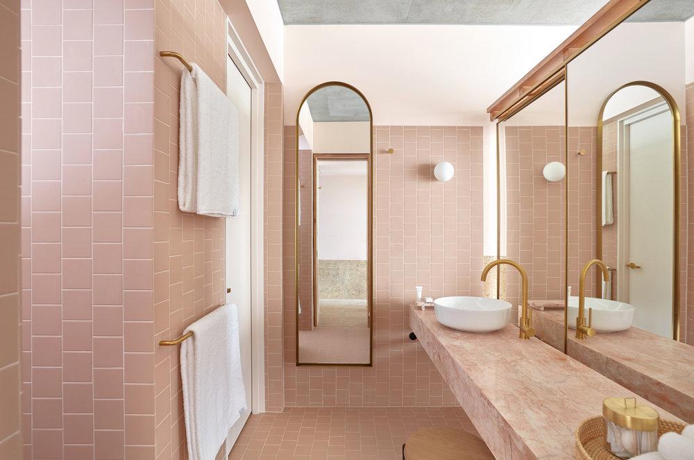 Bathroom of our dreams in  The Calile Hotel.  Photo - Sean Fennesy.