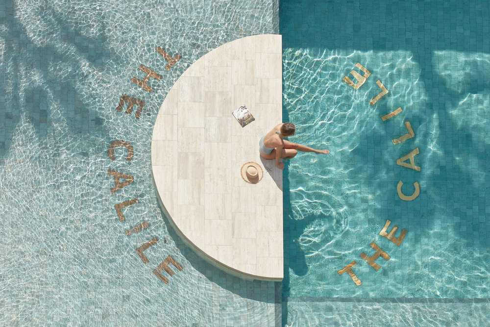 The sparkling thirty metre pool in  The Calile Hotel.  Photo - Sean Fennesy.