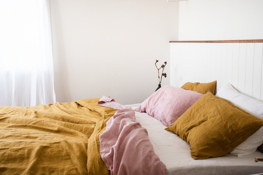4    Mustard French linen Quilt Cover. Wildflower Pink flat sheet, White fitted sheet, Mustard, Wildflower Pink & White Pillowcases from  I Love Linen .
