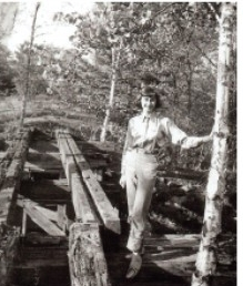 Maxine by the remains of the old railroad trestle (1951)