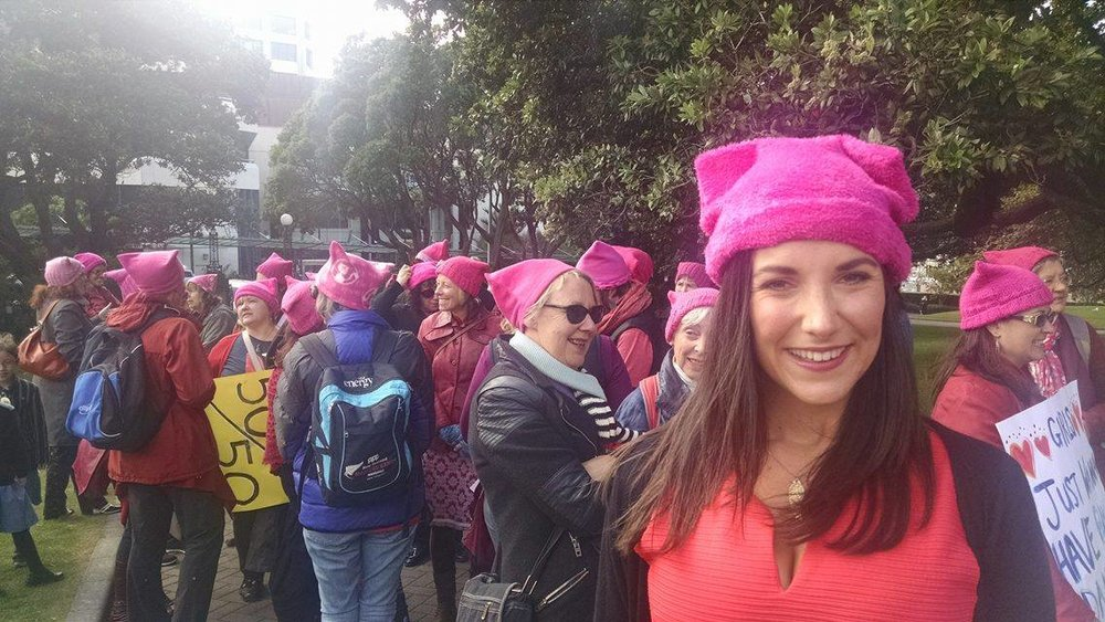 Wearing a 'PussyHat' prior to singing MILCK's 'Quiet' on International Women's Day 2017 in Wellington, New Zealand