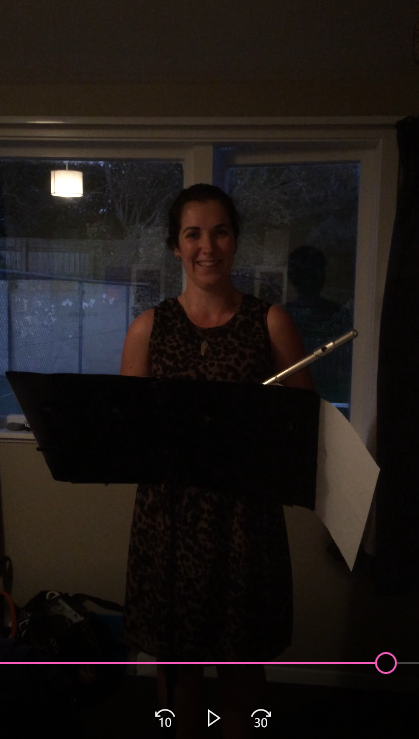 A screenshot of performing the flute for flatmates and my mum - it'd been a while!