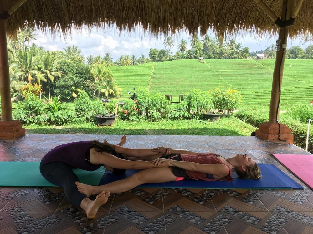 Trust me, it took time to get into this pose. Photo taken a few months after the challenge finished: in August at Balitrees Retreats in Bali, Indonesia.