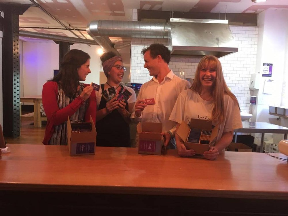 Some of the Ovio Mindfulness team with the lovely Mona at Wellington Chocolate Factory for the launch of Ovio/WCF collaboration: Ovio Mindful Moments (chocolates!!) Can you see how excited our faces are?? :)
