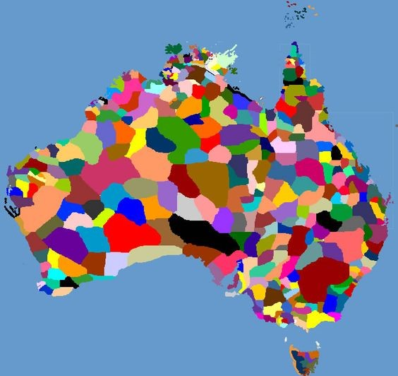The map is a guide to the language, tribal and nation groups of the Aboriginal people of the Australian continent and Torres Strait Islands