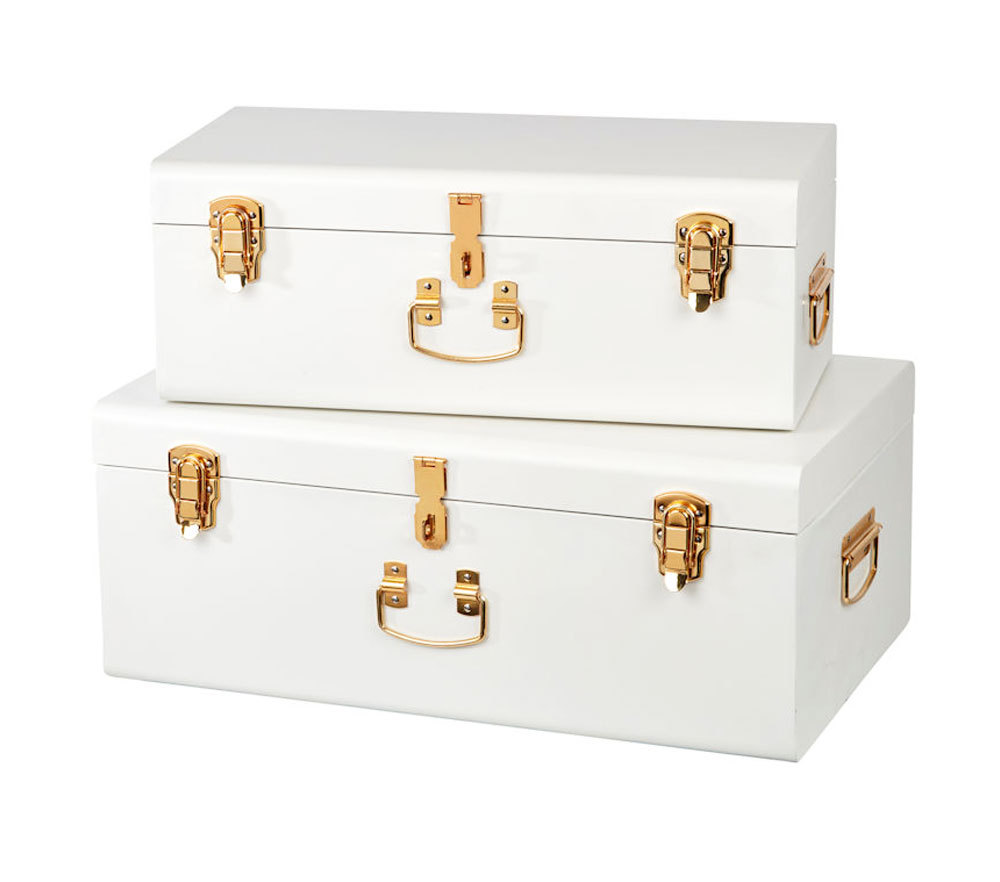 Hire white gold chest suitcase wishing well Sydney $40