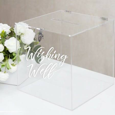 Acrylic Perspex Wishing well box hire $50