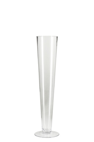 Tall Clear glass Pilsner vase hire Sydney