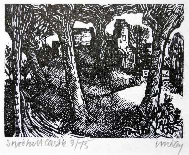 Wood engraving the castle by Kenneth Lindley c 1972 (ex Principal of Hereford Art School) (reproduced by kind permission)