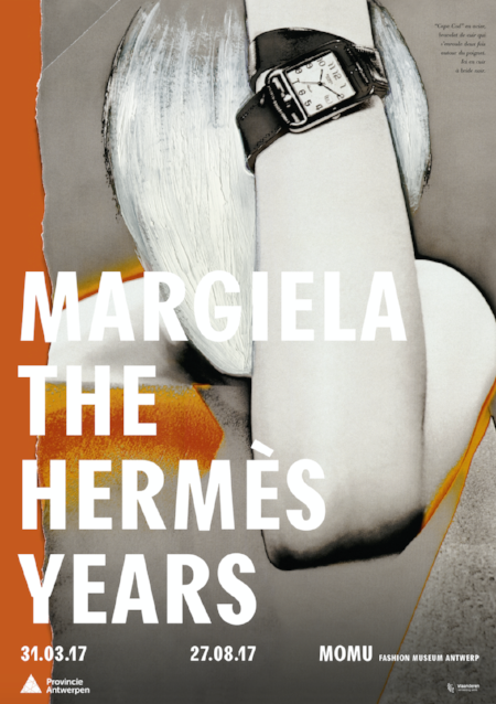 Hermès A/W 1998 image of the advertising campaign over-painted by Martin Margiela (Cape Cod watch designed by Henri d'Origny and double-tour strap bracelet created by Martin Margiela), Photo: Thierry Le Goues