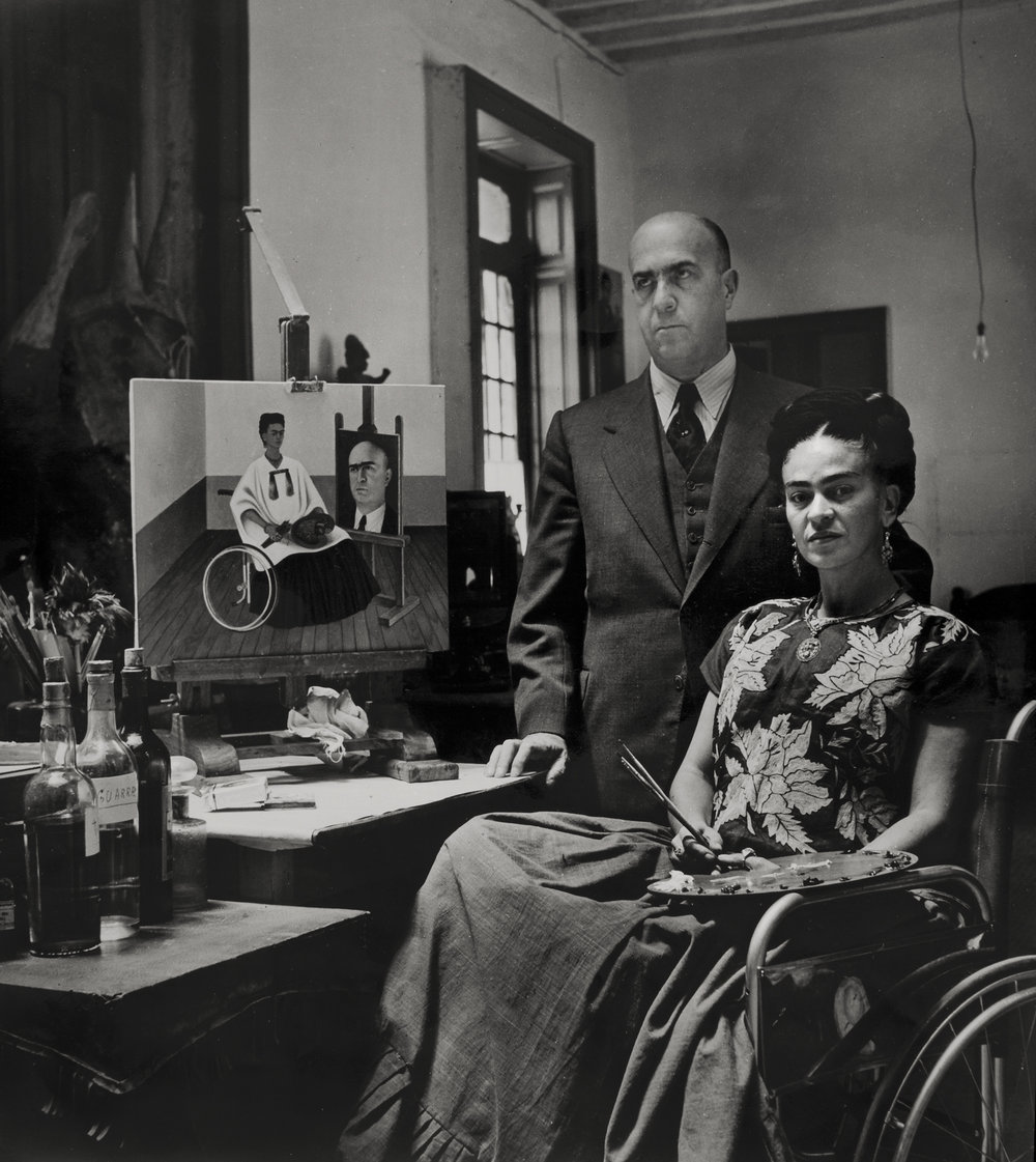 Frida Kahlo with the doctor Juan Farill , by Gisèle Freund, 1951 ©Frida Kahlo Museum