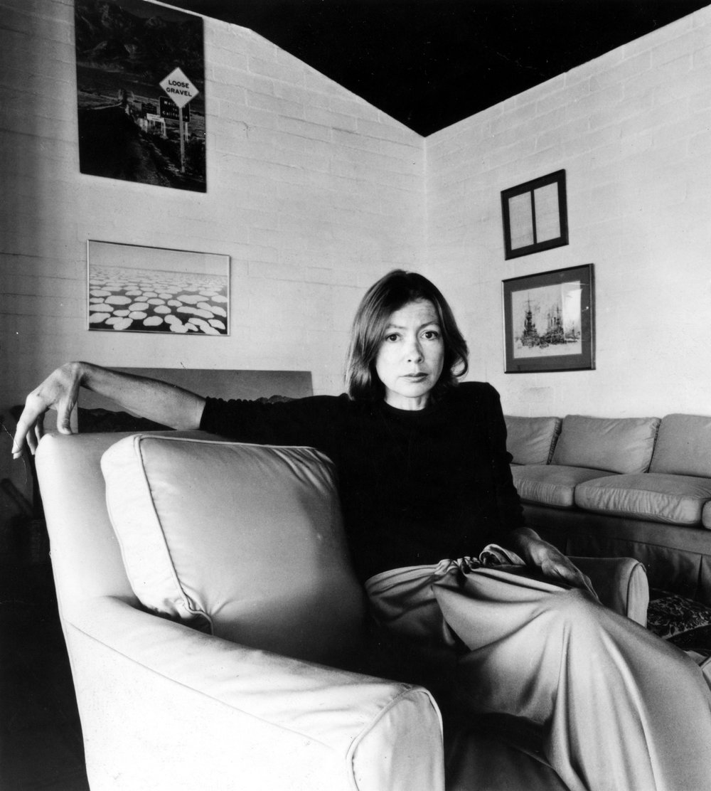 JOAN DIDION, CIRCA 1977. From page 137. COURTESY: CSU ARCHIVES / EVERETT COLLECTION © ALAMY STOCK PHOTO.  From the book: Legendary Authors and The Clothes They Wore by  Terry Newman . Text © 2017 by  Terry Newman . Reprinted courtesy of Harper Design, an imprint of HarperCollins Publishers. Disclaimer: this image is only to be used in the context of promoting/marketing  Legendary Authors and the Clothes They Wore and cannot be used for any other purpose.
