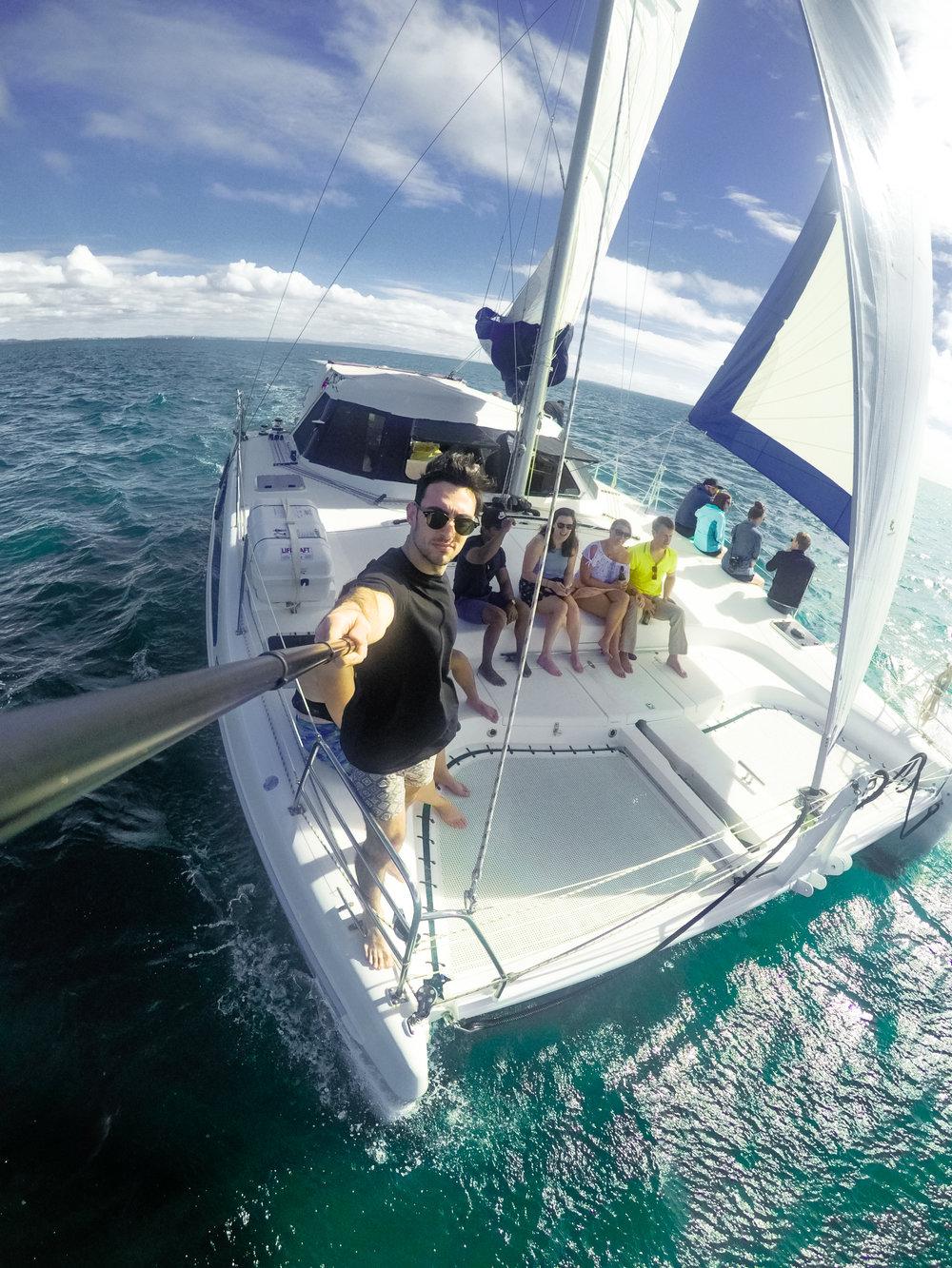 Onboard the catamaran